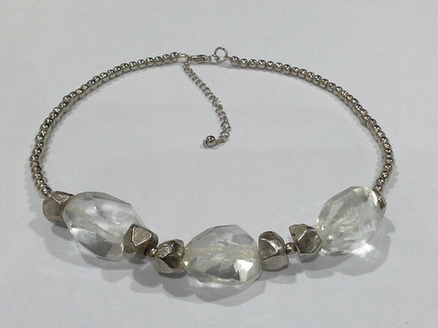Clear Rock Crystal Glass & Silver Metal Bead Collar Necklace
