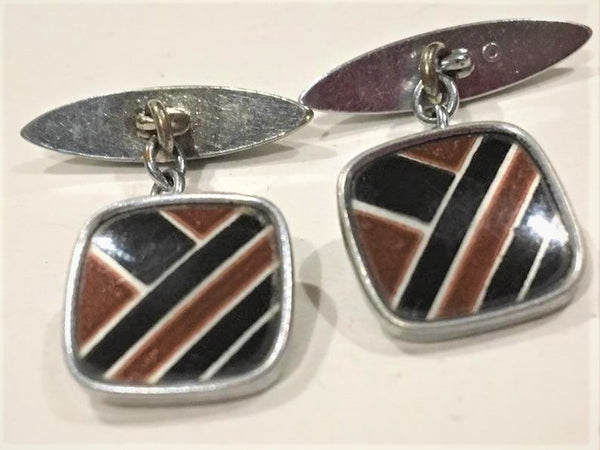 Art Deco Silver & Enamel Cufflinks Cuff Links Black and Brown Geometric Design Made in England c 1930s