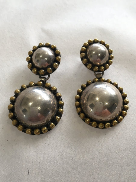 TAXCO MEXICO ROUND MOON DANGLE STUD EARRINGS STERLING SILVER 925 & GOLD EDGING