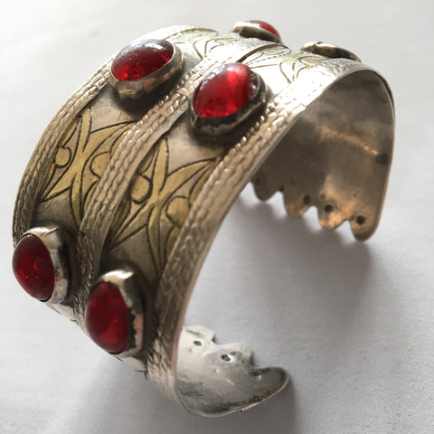 Vintage Turkman Jewelry Silver & Red Glass Bead Tribal Cuff Bracelet Bangle