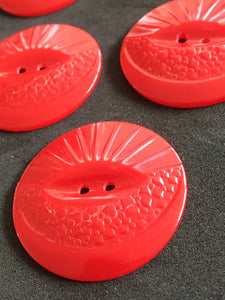 Red Art Deco Large Coat Jacket Vintage Buttons x 6