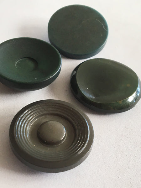 Vintage Green Coloured Plastic Coat Jacket Buttons x 4