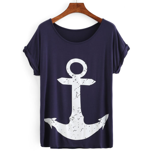 Anchor Print Rolled Sleeve T-shirt