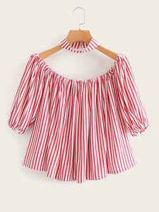 Off Shoulder Striped Blouse With Choker