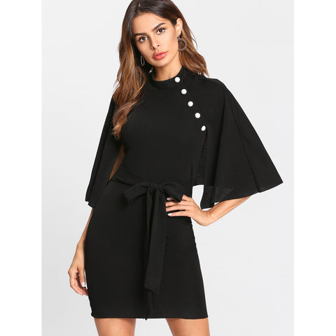 Self Belted Button Detail Cape Dress