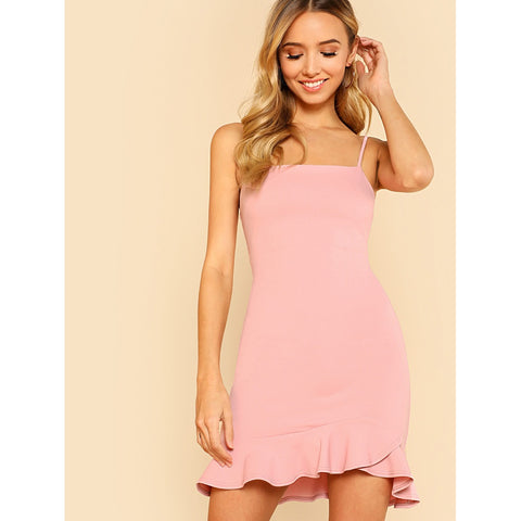 Ruffle Hem Open Back Cami Dress