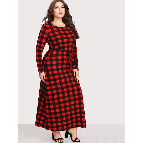 Check Plaid Full Length Dress - Anabella's