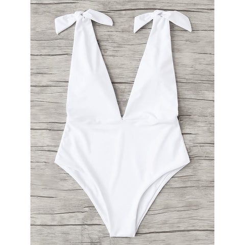 V Plunge Knot Swimsuit WHITE