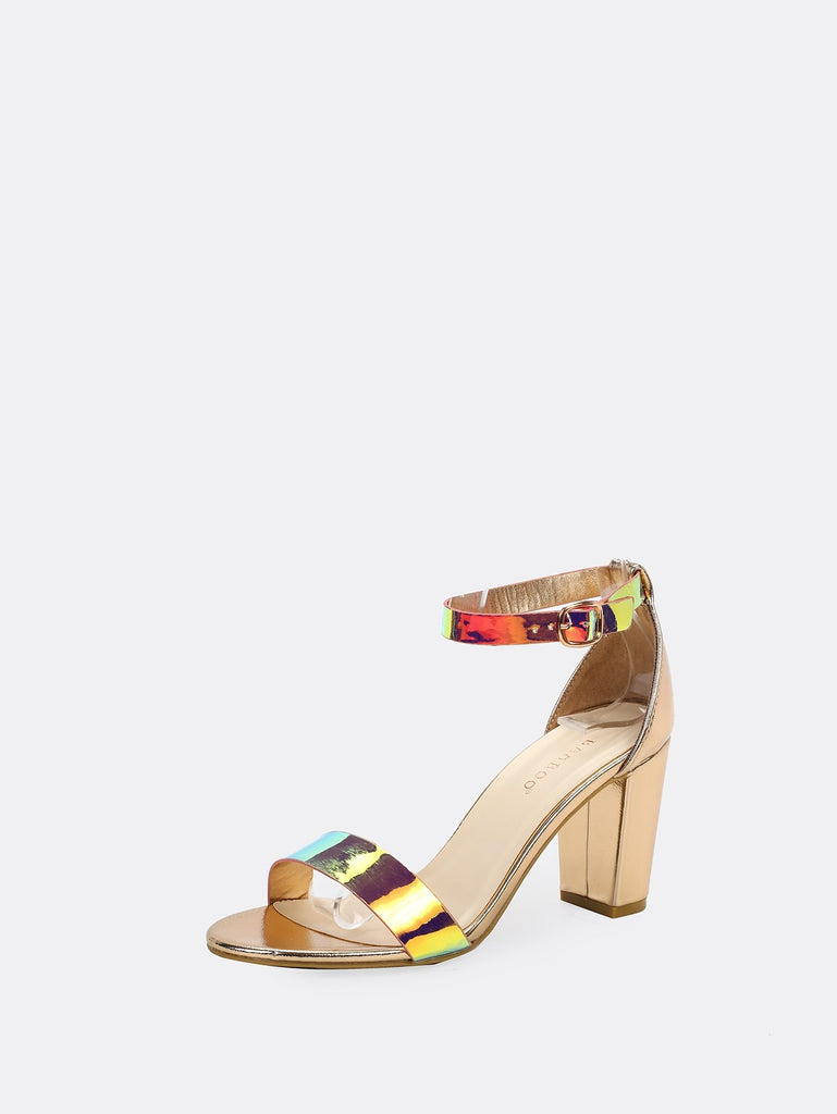 ab1b1e8fca Holographic Open Toe Chunky Heel Sandals   Anabella's