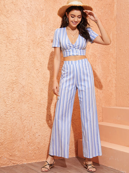 Plunging Double Breasted Crop Top and Palazzo Pants Set