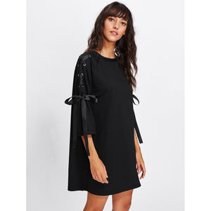 Ribbon Lace Up Raglan Sleeve Marled Tee Dress Black