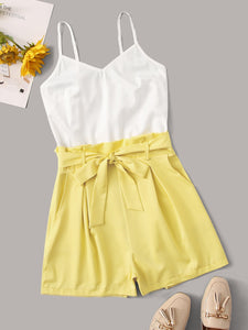2 In 1 Two Tone Belted Cami Romper