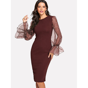 Pearl Beaded Mesh Sleeve Form Fitting Dress Burgundy