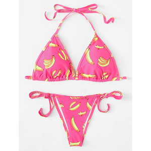 Banana Print Self Tie Bikini Set