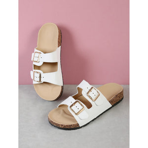 Double Buckled Strap Cork Footbed Sandal WHITE - Anabella's