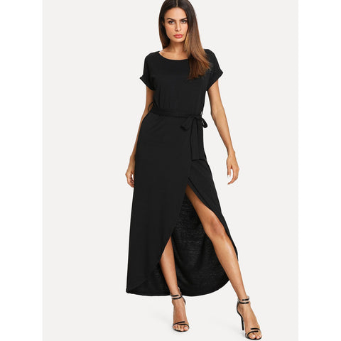 Self Tie Waist Split Dress
