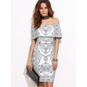 Flounce Layered Neckline Vintage Print Dress
