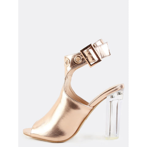 Metallic Perspex Mule Booties ROSE GOLD - Anabella's