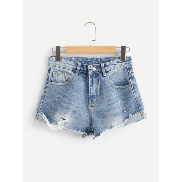 Bleach Wash Frayed Hem Denim Shorts