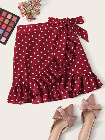 Plus Ruffle Trim Wrap Knot Dot Print Skirt