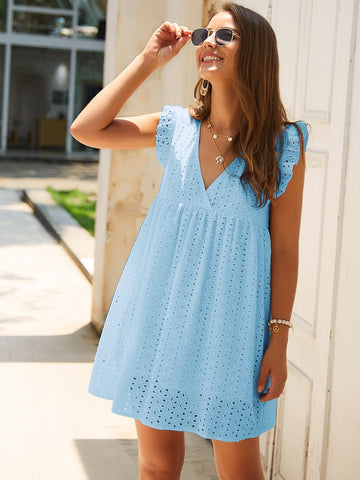 Eyelet Embroidery Ruffle Sleeve Smock Dress