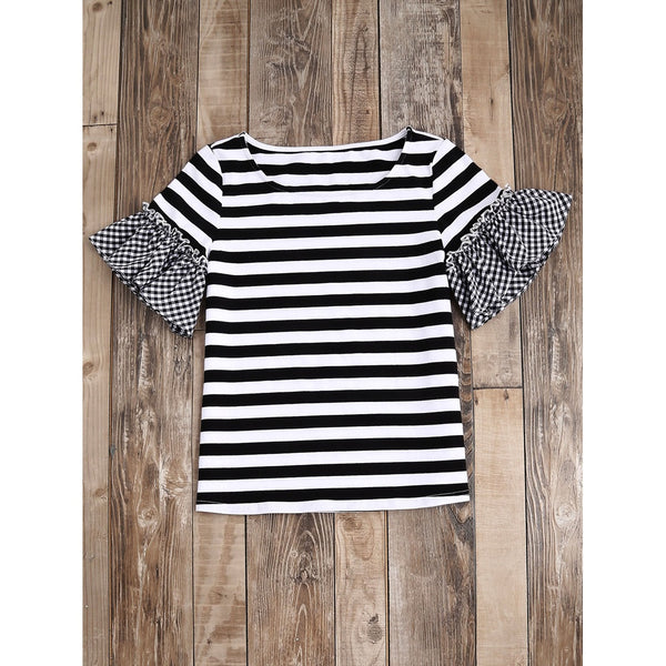 Striped T-shirt With Gingham Ruffle Sleeve