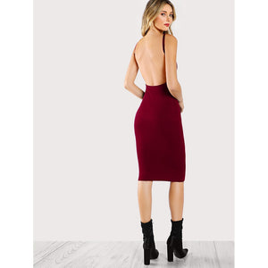 Low Back Pencil Dress Burgundy