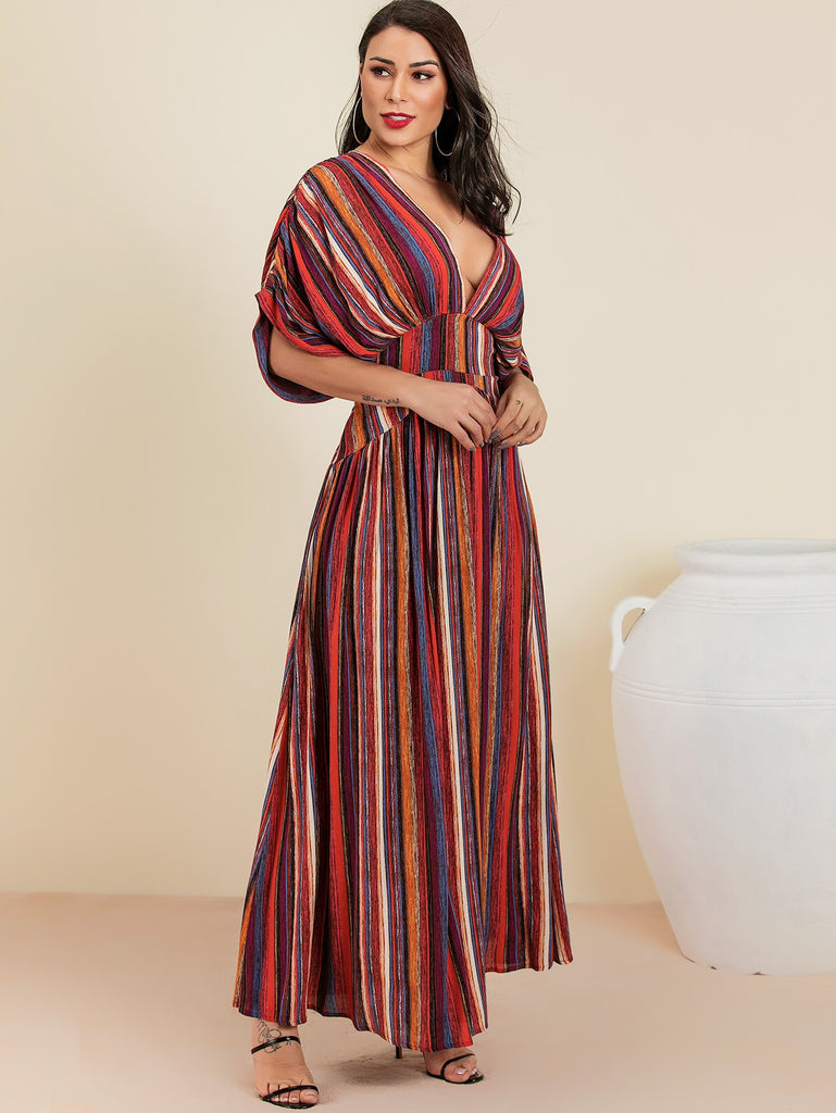 8ab942264201 Glamaker Plunge Neck Tie Back Colorful Striped Maxi Dress | Anabella's