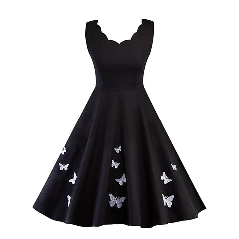Scallop Edge Butterfly Embroidered Circle Dress