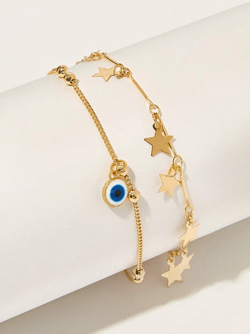 Eye & Star Charm Chain Anklet 1pc