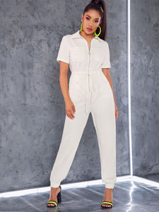 O-ring Zip Flap Pocket Patched Drawstring Waist Jumpsuit