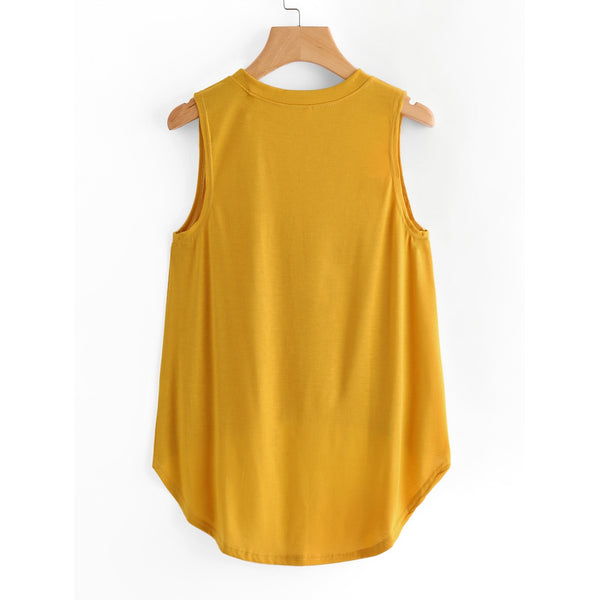 Laser Cut Dip Hem Tank Top YELLOW - Anabella's