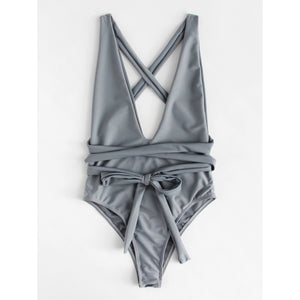 Criss Cross Self Tie Swimsuit GREY