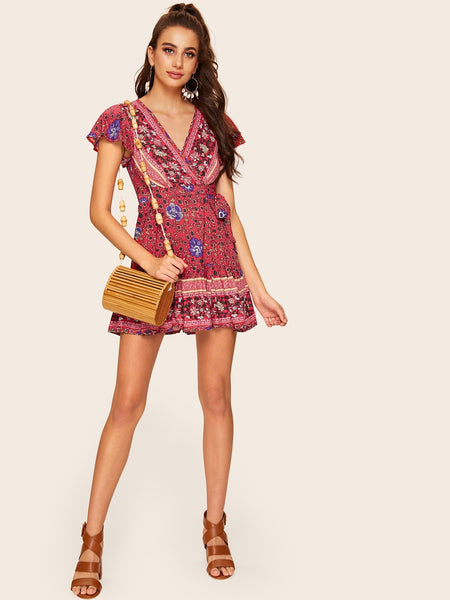 Calico Print V-neck Knot Front Dress