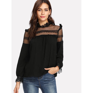Debby Mesh Neck Lace Cuff Frilled Top