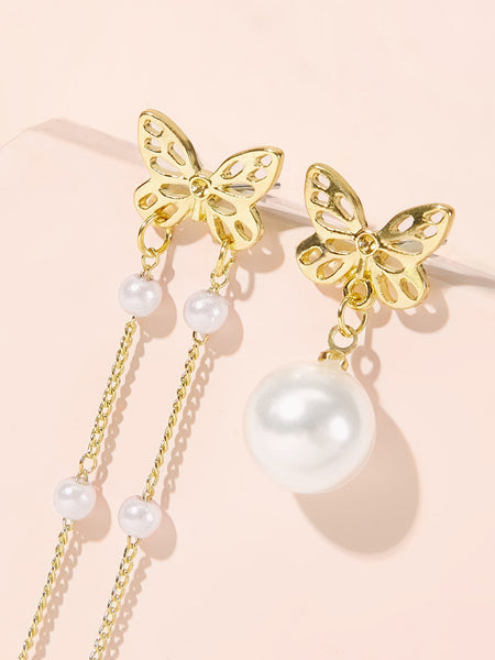 Butterfly Decor Faux Pearl Tassel Mismatched Earrings 1pair