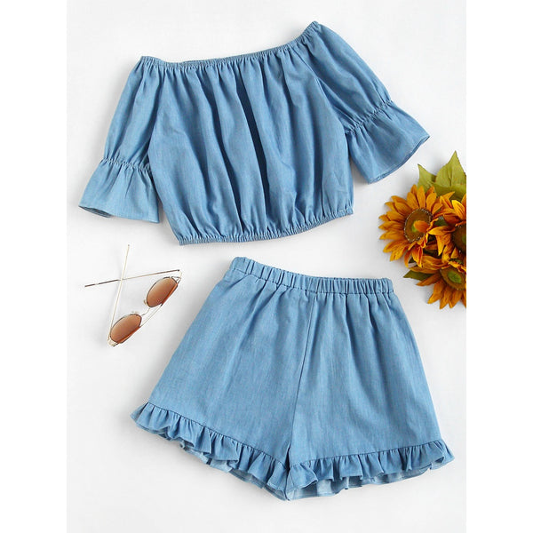 Bardot Crop Top With Frill Hem Shorts BLUE