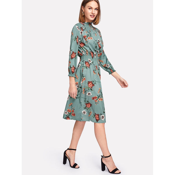 Shirred Detail Floral Dress