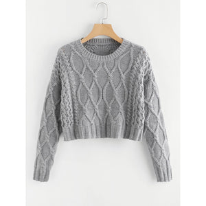 Mixed Knit Solid Crop Jumper