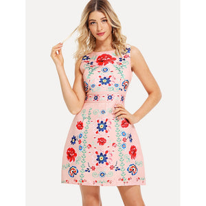 Flower Embroidered Fit & Flare Dress