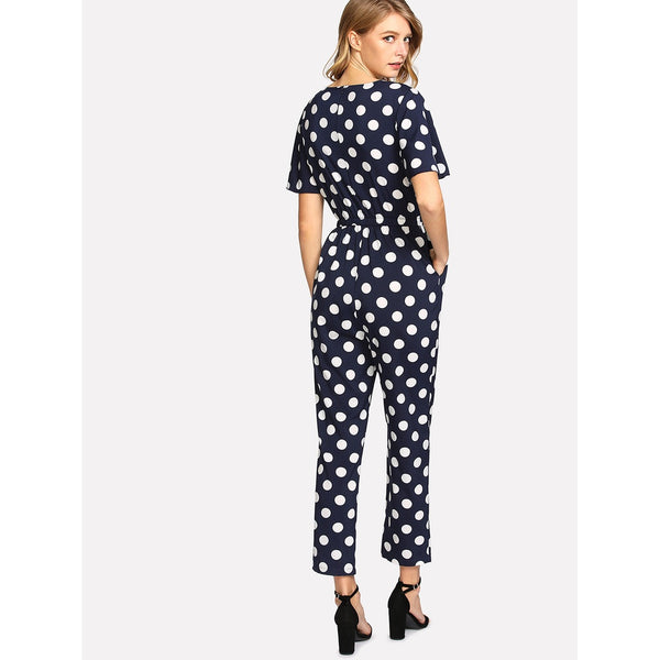 Allover Polka Dot Elastic Waist Jumpsuit