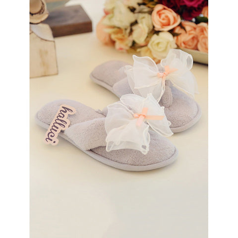 Contrast Mesh Bow Toe Post Slippers