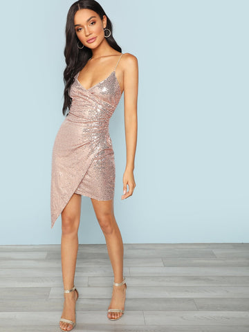 Sequin Surplice Wrap Asymmetrical Cami Dress