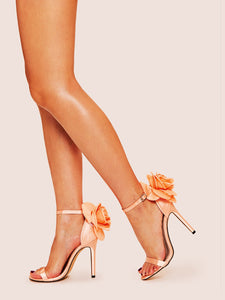 Metallic Floral Decor Stiletto Heels