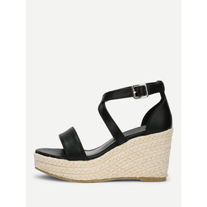 Platform Criss Cross Wedge Sandals Black