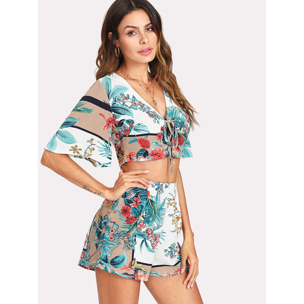 Lace Up Crop Tropical Top & Shorts Set
