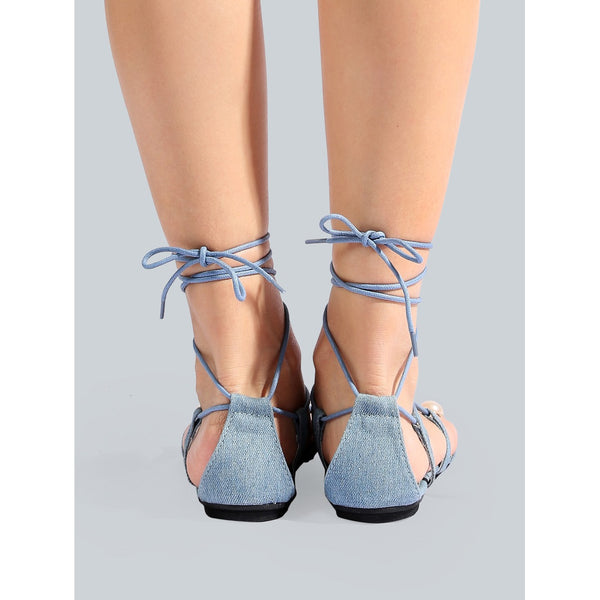 Denim Pearl Wrap Up Sandals DENIM - Anabella's