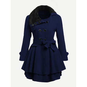 Contrast Faux Fur Collar Double Layered Hem Coat Blue