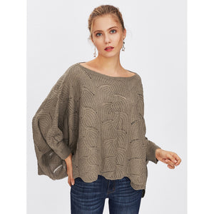 Loose Knit Scalloped Dolman Sweater Coffee
