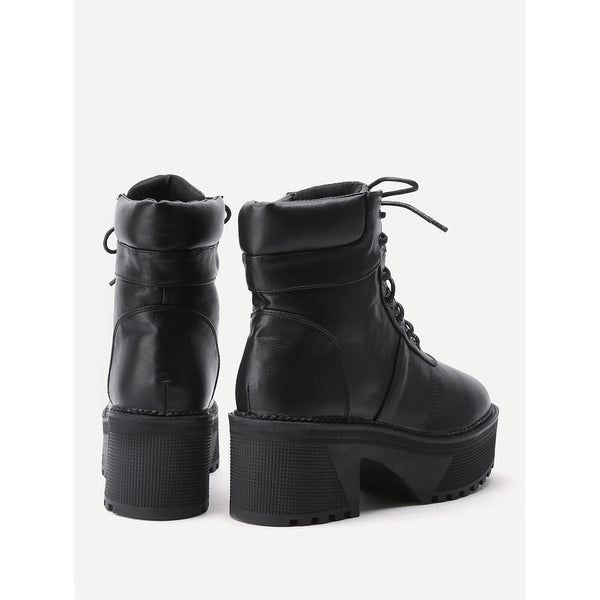 Platform Lace Up Faux Leather Boots - Anabella's